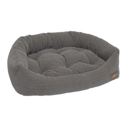 Jax & Bones - Jax & Bones Printed Microvelvet Napper Bed Tweed Blue Medium - An original design by Jax and Bones! An oval bolster bed that is perfect for dogs that like to lean, curl, or cuddle. Fabric is made from a high performance micro-denier plush velvet with 2 removable inserts for easy care. Offered in 4 sizes and inevitably the softest and favorite dog bed your pet will ever have!