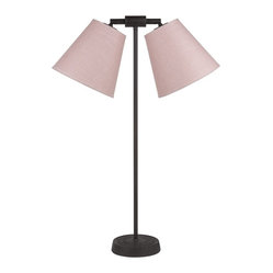 Zoe 2-Light Table Lamp, Rose Tweed