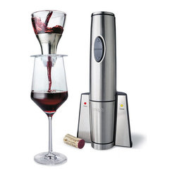 """Frontgate - Waring Electric Wine Opener and Aerator Gift Set - Rechargeable NiMH battery pack opens up to 120 bottles on a single charge. Opener and charging stand feature brushed stainless steel finish. Opener (2-1/2"""" dia. x 12""""H) has easy, quiet forward and reverse motors. Aerator eliminates the need for a decanter and the wait for one's wine to decant, mixing in the perfect amount of air to enhance the wine???s flavor and bouquet. Aerator (3-1/2"""" dia. x 5""""H) features brushed stainless accents and a streamlined base. Open and aerate your favorite wines in seconds with this professional quality cordless set. Place the opener directly on top of the bottle, press the button, and the stainless steel corkscrew spiral enters and removes the cork. Then open the bouquet of your wine by simply placing the aerator on your glass and pouring the wine through. . . . Aerator eliminates the need for a decanter and the wait for one's wine to decant, mixing in the perfect amount of air to enhance the wine??s flavor and bouquet. . Compact charging base allows you to charge and store at the same time with minimal footprint. Includes charging stand and replacement auger for wine opener, plus a handy foil cutter that stores in the back of the charging base. Charging station for opener (5-1/2""""W x 4""""D x 4-1/2""""H) includes 72"""" cord. Opener features a five-year limited manufacturer's motor warranty and one-year limited manufacturer's product warranty. UL listed."""