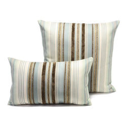Aqua Stripe Outdoor Pillow - Aqua Stripe outdoor pillow design is available in two sizes.