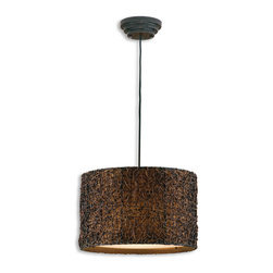 Uttermost - Knotted Rattan Espresso Drum Pendant - Drum solo, please! This drum pendant light shade deserves star treatment. With its hand-rubbed espresso finish and fabric light shade it's a visual and textural treat. Give it a solo performance over your dining room table, kitchen nook or over the stairs.