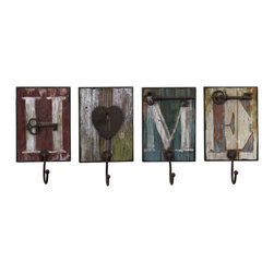 iMax - Casa Wall Hooks, Set of 4 - Home is where you can hang your hat on these heartwarming, distressed, painted wood, wall hooks, set of four.