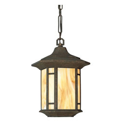 Progress Lighting - Progress Lighting Arts & Crafts Traditional Outdoor Hanging Lantern X-64-8255P - The arts and crafts movement was a revolution in recreating handcrafted looks. The Progress Lighting Arts & Crafts Traditional Outdoor Hanging Lantern pays homage to this era with its Light Honey shade panels framed in Weathered Bronze finish. Hang this pendant light to illuminate architecture or provide a warm glow for outdoor gatherings.