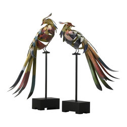 Cyan Design - Cyan Design Sculptural Multicolored Birds - This two piece Cyan Design sculpture set features beautifully colored birds, each perched on a simple stand with a straight frame. The birds feature wrapped metal and wood construction for an open look that is complimented by the blend of saturated colors.