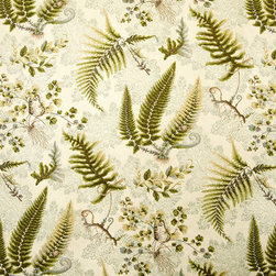 Eclectic - A fern fabric. A fern fabric with lizards, butterflies, snails, and crickets! This nature fabric has a vintage look.