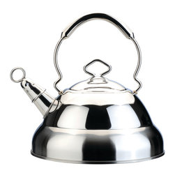 Berghoff - Berghoff Harmony Whistling Kettle 11 Cup - Quality 18/10 stainless steel whisiting tea kettle features a large handle and dripless pour spout for comfort as well as safe pouring. Use on any stove top:  gas, electric, ceramic or induction.  Whistles when your water boils. Capacity: 11 cups