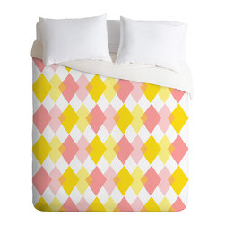 DENY Designs - Hello Twiggs Yellow Party Duvet Cover - Turn your basic, boring down comforter into the super stylish focal point of your bedroom. Our Luxe Duvet is made from a heavy-weight luxurious woven polyester with a 50% cotton/50% polyester cream bottom. It also includes a hidden zipper with interior corner ties to secure your comforter. it's comfy, fade-resistant, and custom printed for each and every customer.