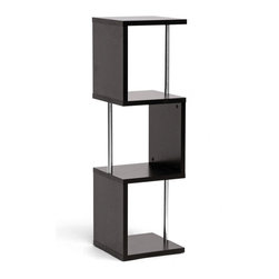 "Baxton Studio - Baxton Studio Lindy Dark Brown Modern Display Shelf (3-Tier) - A vertical display shelf saves space while providing a safe haven for your decor, books, memorabilia, and more. Our Lindy Designer Shelving Unit is a contemporary 3-tier storage and display option made of engineered wood, dark brown faux wood grain paper veneer, and chrome-plated steel support beams.  This Malaysian creation requires assembly and should be wiped clean with a dry cloth. A 2-tier Lindy Lindy Shelf is also offered as well as a matching coffee table (each sold separately). Product Dimensions: 46.5"" H x 13.9"" W x 13.7"" D,"