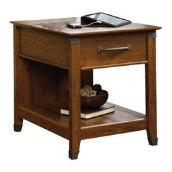 Sauder - Sauder Carson Forge Smartcenter Side Table in Washington Cherry - Sauder - End Tables - 413350 - About The Carson Forge Collection: