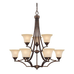 Capital Lighting - Capital Lighting Towne & Country Transitional 9-Light Chandelier X-701-TR9204 - A fresh diamond style and artful shades make this contemporary town & country transitional 9-light chandelier a crowd pleaser that demands your attention. The mist scavo glass shade offers romance and sophistication along with a bright glow so your bathroom, apartment, bungalow, or hacienda is greatly improved. The rustic finish is soothing and made to last.