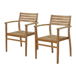 International Home Miami Corp - International Home Miami Amazonia Teak Set of 2 Stacking Chair - International Home Miami Corp - Outdoor Chairs - SC Ninia_Set -This modern pair of stacking chairs can be used indoors or outdoors. Painted in a natural light gray tone, it can match all decor settings. Lightweight and convenient to use, they come completely assembled. Their high quality teak wood design is also resistant to UV rays. These spacious chairs offer spacious seating with absolute comfort.
