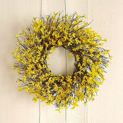 Forsythia Wreath - Blooming forsythia is one of the first signs of spring. Hang a wreath of faux blooms on your front door to welcome your holiday guests.
