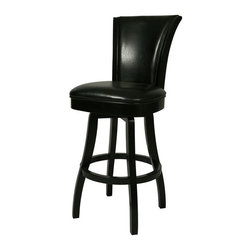 """Pastel Furniture - Pastel Furniture Glenwood 30 Inch Swivel Barstool - The Glenwood barstool is beautifully made with classic design elements that will add that touch of style to any room. This swivel barstool features a quality wood frame with sturdy legs and foot rest finished in Feher Black. The padded seat is upholstered in Black Leather offering comfort and style. Available in 26"""" counter or 30"""" bar height."""