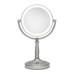 Zadro - Zadro Led Lighted 1X/10X Portable Round Vanity Mirror In Satin Nickel-Ledmv410 - The LED Lighted Vanity Mirror features a dual-sided, premium quality mirror with two magnifications.  On one side, a 10x magnification mirror allows you to see up-close and in detail, allowing for easy make-up application.  The other side features a normal, 1x magnification mirror that is great for checking hair and make-up.