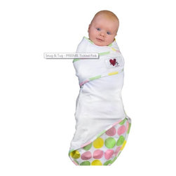 Go Mama Go Designs - Go Mama Go Designs Small Tickled Pink Snug and Tug Swaddle Blanket - 71812214255 - Shop for Blankets from Hayneedle.com! Research shows a swaddled baby sleeps twice as long as babies who aren't swaddled. The Snug & Tug swaddle blanket ensures baby doesn't wiggle out thanks to its triple defense system:1. A full-body pouch means baby can kick and kick but can't slip out.2. A small opening wraps both sides of the blanket around your baby to recreate the womb-like environment he or she craves.3. Velcro straps offer adjustability and ensure baby stays swaddled.The triangular design of the Snug & Tug is the ideal shape for swaddling. You don't need a lot of space to use it anywhere anytime. Made of 100% cotton the Snug & Tug is breathable stretchable and super soft. Good swaddling blankets are made of cotton not fleece terry cloth or trimmed with satin. And there are no worries about the Velcro tabs snagging other items in your laundry. The designers have thought of everything and the Snug & Tug includes a safety spot to fold the Velcro tabs during laundry.