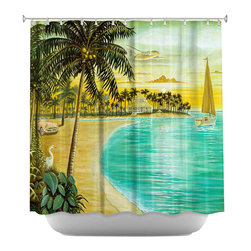 DiaNoche Designs - Tropic Cove Shower Curtain - Sewn reinforced holes for shower curtain rings. Shower curtain rings not included. Dye Sublimation printing adheres the ink to the material for long life and durability. Machine washable. Made in USA.