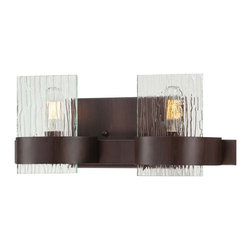 Savoy House - Savoy House Brione Bathroom Lighting Fixture in Espresso - Shown in picture: Brione has updated modern styling with simple clean lines - hammered glass - nostalgia light bulbs - and a rich Espresso finish.