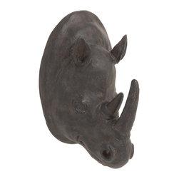 Exquisite Polystone Rhino Trophy Head - Description: