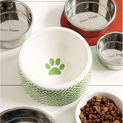Ballard Designs - Preston Food Bowl - Coordinates with our Preston Treat Jar. Imported. It doesn't get any more tasteful than this. Our Preston Pet Food Bowl is microwave-safe for warm serving and has a coordinating paw print in the bottom. It's made of durable, dishwasher-safe ceramic with Ballard green and cream trellis motif to complete the on-trend lookPreston Pet Food Bowl features: . .