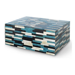Kathy Kuo Home - Azure Capiz Shell Coastal Beach Rectangular Box - A graphic, Global Bazaar mosaic covers this small hinged box with shimmering capiz shells. Brilliant blue, bright white and deep onyx are inlaid in perfectly proportional rectangles for a linear pattern. The petite piece adds a splash of color anywhere you place it.