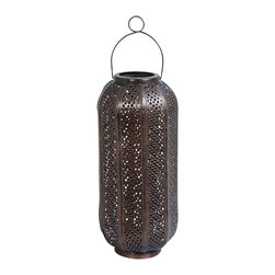 Copper Hurricane Ironwork Lantern - Handcrafted Candles not included The natural quality of copper is to oxidize over time. To reduce oxidization and clean with vinegar and salt using a non-scratch cloth.