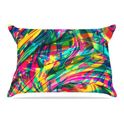"Kess InHouse - Danny Ivan ""Wild Abstract"" Rainbow Illustration Pillow Case, Standard (30"" x 20"" - This pillowcase, is just as bunny soft as the Kess InHouse duvet. It's made of microfiber velvety fleece. This machine washable fleece pillow case is the perfect accent to any duvet. Be your Bed's Curator."