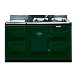 AGA Traditional Electric 4 Oven Cooker, British Racing Green | A4O-E-MOD-BRG - An electrically powered warm air recirculation system (patent pending) provides the heat which maintains the cooker's operating temperature and provides perfect radiant heat cooking. No gas means no need for an outside vent, freeing you to place your AGA anywhere in your kitchen; an island, a pass-through, wherever you like.