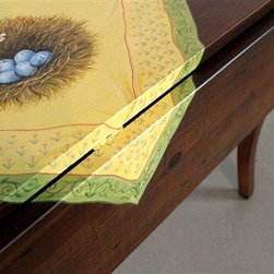 Drop Leaf Farm Table With Painting of Table Cloth - Made by www.ecustomfinishes.com
