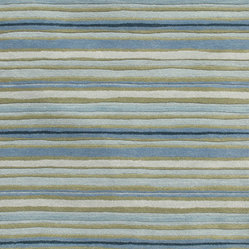 Jaipur Rugs - Transitional Stripe Pattern Blue Wool Tufted Rug - Bring a sense of laid-back luxury to your decor. This hand-tufted wool rug, striped in beachy blues and sands, lends casual elegance anywhere you throw it.