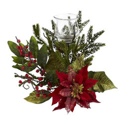 Nearly Natural - Poinsettia Candelabrum - Includes candelabrum and stand. Wide array of holiday colors and textures. Blooms and berries. Never dries out, and never needs water. Green color. Vase: 3.25 in. Dia. x 3.25 in. H. Overall: 14 in. W x 7 in. D x 25 in. H>Here's an exceptional take on the traditional candelabrum centerpiece - a poinsettia and pine style design, with the candelabrum raised up high. The eclectic mix of holiday colors and textures are many, from sprigs, berries and blooms, all surrounding a beautiful candelabrum w with stand. Light up your holiday table or mantle with the stunning piece for years to come.