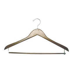 Proman - Genesis Flat Suit Hanger with Lock Bar, Light Walnut - Genesis flat suit hanger with lock bar, light walnut, chrome hardware, 50 pcs/case. Flat suit hanger. W / lock bar Chrome hardware.