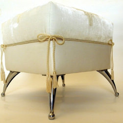 Ottoman Foot Stool /  Luxurious White velvet classic furniture - This is the most fantastic foot stool for your wedding bedroom. Can you imagine yourself sitting on this absolute white silk velvet stool, while you are preparing for the most beautiful day of your life? Can you imagine the feeling of your hands touching the fantastic French lace while the Swarovski crystals shining around your fingers and the transparency of your precious wedding dress?