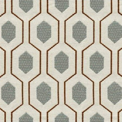 Kravet - Euclid Fabric, Mineral - This geometric pattern, Euclid by Thom Filicia has a good scale for chairs, ottomans and pillows.