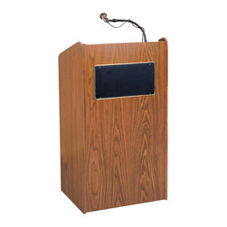 Oklahoma Sound - Oklahoma Sound Aristocrat Floor Sound Lectern In Medium Oak - Perfect for the smallest to largest venues. Executive style podium includes 50-watt multimedia  amplifier with two built-in eight inch speakers  surrounded by gold appointments. Includes microphones  holders  digital timepiece and rolls on four casters. For audiences up to 2500. Assembly required. Now available with built in optional wireless microphones.