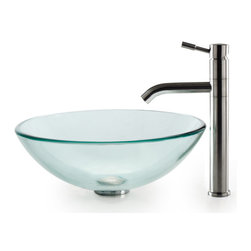 Kraus - Kraus C-GV-101-12mm-2180 Clear Glass Vessel Sink and Aldo Stainless Steel Faucet - Add a touch of elegance to your bathroom with a glass sink combo from Kraus