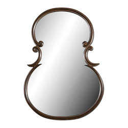 Uttermost - Etienne Wall Mirror - This mirror has curves in all the right places. And what a statement it will make in your entryway above your console table. Its guitar-shaped silhouette is enhanced with a distressed wood tone finish and burnished edges for a unique look.