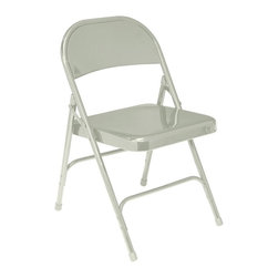 National Public Seating - Standard Folding Chair - Set of 4 - This is perhaps the most versatile chair that you will find anywhere.  If you need affordable and storable chairs these steel folding chairs will offer you everything you need, including relative comfort.  These steel folding chairs come in cartons of four, providing all of the seating that you might need at home, in the office, or even in the classroom. * Set of 4. 19-gauge 0.88 in. round tubular frame with 2.5 in. frame strengthener. Two 19-gauge 0.63 in. U-shaped, double-riveted cross braces. Seat with a waterfall front for added comfort. Electromagnetically welded seat back. Color coordinated polypropylene glides and V-tip plugs for added stability. Steel contains 30-40% of post-consumer waste (recycled). Meets ANSI and BIFMA standards. Warranty: Five years for material. Weight capacity: 480 lbs.. Seat: 15.75 in. W x 16 in. D. Overall: 18.25 in. W x 18.5 in. D x 29.25 in. H
