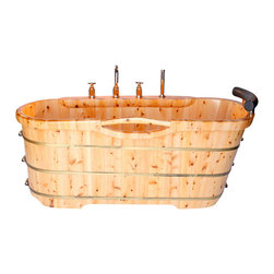ALFI brand - ALFI brand AB1136 61'' Free Standing Cedar Wooden Bathtub with Tub Filler - Turn any bathroom into an eye catching spectacular with a high end wooden tub. The perfect addition to any log style cabin or winter home. Nothing feels better than crawling into a tub made of wood and filled with steaming hot water. Just lay back and relax, you're in a classic wooden tub. *Ships freight. Customer is responsible for unloading tub from delivery truck.