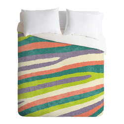 DENY Designs - Nick Nelson Fruit Stripes Duvet Cover - Turn your basic, boring down comforter into the super stylish focal point of your bedroom. Our Luxe Duvet is made from a heavy-weight luxurious woven polyester with a 50% cotton/50% polyester cream bottom. It also includes a hidden zipper with interior corner ties to secure your comforter. it's comfy, fade-resistant, and custom printed for each and every customer.