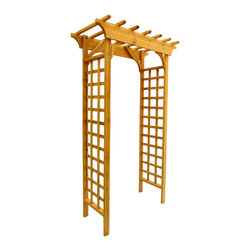 None - Arbor Wooden Arch Trellis - Garden arbor instantly enhances the look of your yard and ads atmosphere,features classic design of two lattice panels with protective coating to increase weatherability.