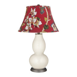"Color Plus - Contemporary West Highland White Red Botanical Double Gourd Table Lamp - Exclusive West Highland White designer color. Red botanical print bell shade. Hand-crafted lamp. From the Color + Plus lighting collection. Maximum 150 watt or equivalent bulb (not included). 29 1/2"" high. Shade is 10"" across the top 17"" across the bottom 11"" on the slant.   Exclusive West Highland White designer color.  Red botanical print bell shade.  Hand-crafted lamp.  From the Color + Plus lighting collection.  Maximum 150 watt or equivalent bulb (not included).  29 1/2"" high.  Shade is 10"" across the top 17"" across the bottom 11"" on the slant."