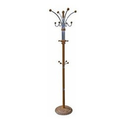 ORE International - 73 in. Coat Rack w 12 Metal Hooks - 12 Hooks. Carved wood base . Elegant and streamlined design. Made from Chrome and wood. Assembly required. 19 in. L x 19 in. W x 73 in. H (23 lbs.)Elegant, yet casual design elements. Unique fine moldings and classic turnings. Your entry or foyer will work harder than ever with this stylish standing coat rack.