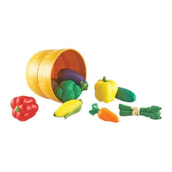 Learning Resources - Learning Resources New Sprouts Bushel of Veggies - LER9721 - Shop for Cooking and Housekeeping from Hayneedle.com! Bring the market home with the Learning Resources New Sprouts Bushel of Veggies which invites early dramatic play builds vocabulary and encourages good nutrition with its freshly designed soft plastic produce pieces. Set includes corn cucumber broccoli red pepper eggplant carrot yellow pepper asparagus and potato. All of which can stored in a plastic bushel basket.About Learning ResourcesA leading manufacturer of innovative hands-on educational materials and learning toys Learning Resources has been teaching children through play in the classroom and the home for over 25 years. They are a trusted source for educators and parents who want quality award-winning educational products. Their diverse product line of over 1300 products serves children and their families kindergarten primary and middle school markets focused on the areas of mathematics science early childhood reading Spanish language learning and teacher resources. Since their founding in 1984 Learning Resources continues to be guided by its mission to develop quality educational products that make learning exciting for children of all ages and abilities. They strive to create hands-on products that build a concrete foundation of skills through exploration imagination and fun.