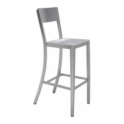 Kathy Kuo Home - Wooster Industrial Style Silver Aluminum Outdoor Safe Bar Stool  - Pair - Simple and elegant, these two Industrial aluminum bar stools are the perfect pair. Whether you need seating at an outdoor patio bar or an indoor recreation room, these brushed silver chairs have clean lines and angular shapes, for a modern take on comfort.