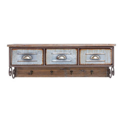 """Wood Metal Shelf Hook with Traditional Style - Enhance the storage space in your home with this stylish and elegantly designed wood metal shelf hook 38""""w, 13""""h. The enchanting hook design is inspired from traditional style designs and is sure to lend a distinct look to interiors. Exquisitely designed with three metal drawers, this shelf allows you to organize different items. This charming shelf can also be placed in the kitchen to lend a rustic, country feel to simple kitchen settings. The S-shaped metal hooks presented below the metal drawers of this shelf allow you to easily hang kitchen towels and keep essentials close at hand. Carefully designed from high grade wood, this shelf offers a spacious storage space with its flat top design. The top grade wood used in the making of this room decor ensures its durability and long lasting use.. It comes with a dimension:"""
