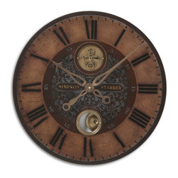 "Uttermost - Uttermost Simpson Starkey 23"" Wall Clock 06038 - Weathered, laminated clock face with cast brass details and internal pendulum. Requires 1-AA battery."
