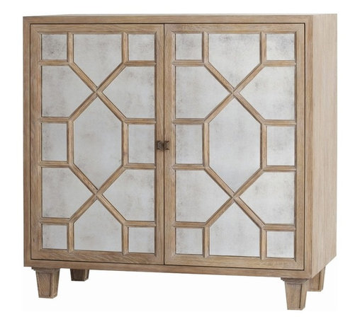 Arteriors - Remington Low Cabinet - Do more than store — liven up your decor with this impressive, ample cabinet. It's fronted by a pair of antique mirrored glass doors overlaid with a geometric design, and features a distressed oak finish.