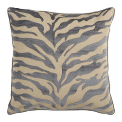 Safari Tan and Dark Slate Blue 22 x 22 Pillow - Zebra print is always in style. This fun design brings character to your room. Colors of gray and beige accent this decorative pillow. This pillow contains a poly fill and a zipper closure. Add this 22 x 22 pillow to your collection today.  - Includes one poly-fiber filled insert and one pillow cover.   - Pillow cover material: 65% Acrylic 35% Polyester Surya Rugs - JS032-2222P