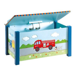 Guidecraft - Transportation Toy Box - GuideCraft Transportation Collection Toy Box incorporates a fun design into practical storage in any kid's room!  Trains, planes, trucks and fire-engines - getting around town has never been such fun! Hand-painted and hand-carved details, hardwood legs and posts and a classic, timeless design give the Transportation Series a vintage appeal that's perfect for a first-room or playroom. The bright, primary palette is the perfect match back to most room decor and bedding collections. Features a spacious interior, two safety-lid supports and finger-hole cutouts to prevent pinching. Assembled Dimensions: 17 1/2 x 30 x 22 1/2 inches. Weighs 26 lbs. Adult assembly required. Made for kids ages 3 and up.
