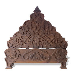 Embossed Bed, Dark Brown Torched with Scrolls - Embossed Bed, Dark Brown Torched with Scrolls